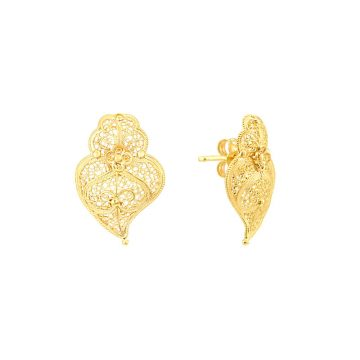 brincos coracao de viana mini in gold filigrana ouro joias sui jewellery earrings tradicional portuguese heart filigree ines barbosa