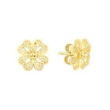 brincos clover in gold filigrana ouro joias sui jewellery earrings modern trevo modern filigree ines barbosa