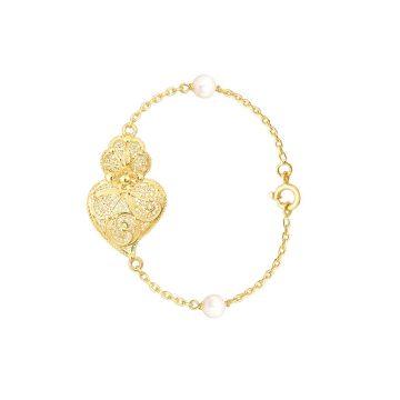 pulseira coracao de viana s in gold filigrana ouro joias sui jewellery perolas bracelet tradicional portuguese heart filigree pearls ines barbosa