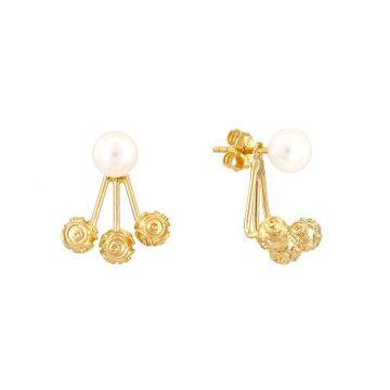 brinco triple beads & pearl sui joias brincos prata dourada contas bolas viana perola nana jewellery silver