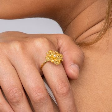 anel trevo perola joias sui jewellery ines barbosa filigrana ouro